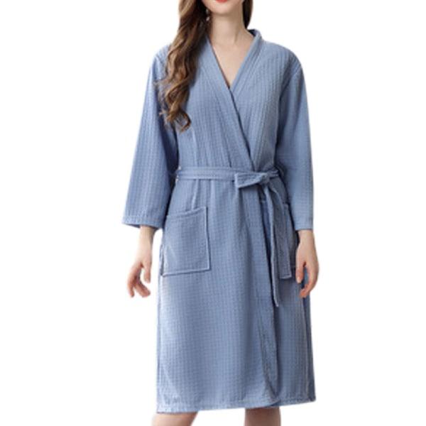 Women Men V Neck Lace Up Bathrobes Long Sleeve Waffle Sleepwear Blue,3XL