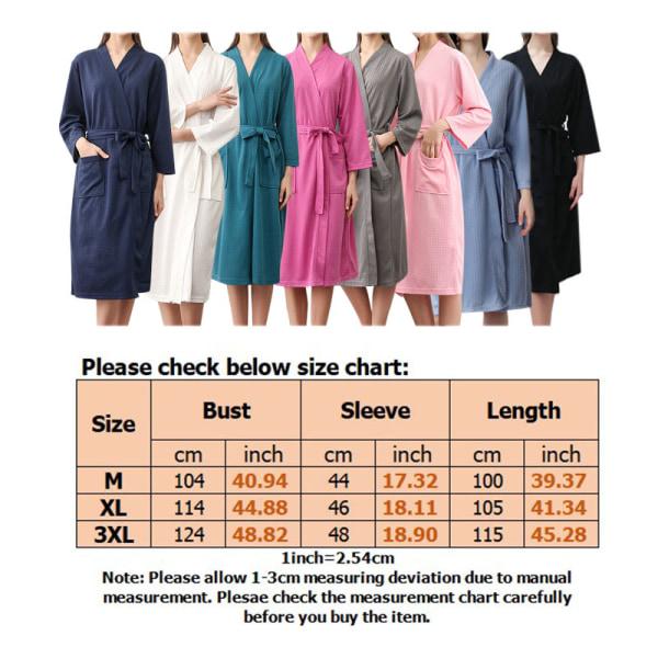 Women Men V Neck Lace Up Bathrobes Long Sleeve Waffle Sleepwear Dark Blue,XL