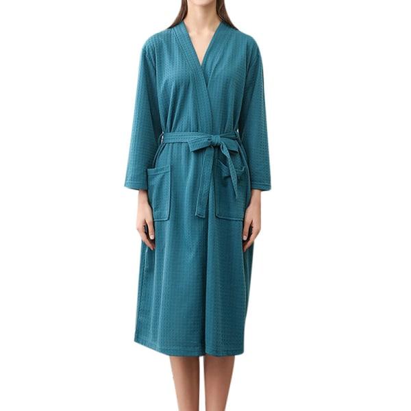 Women Men V Neck Lace Up Bathrobes Long Sleeve Waffle Sleepwear Green,M