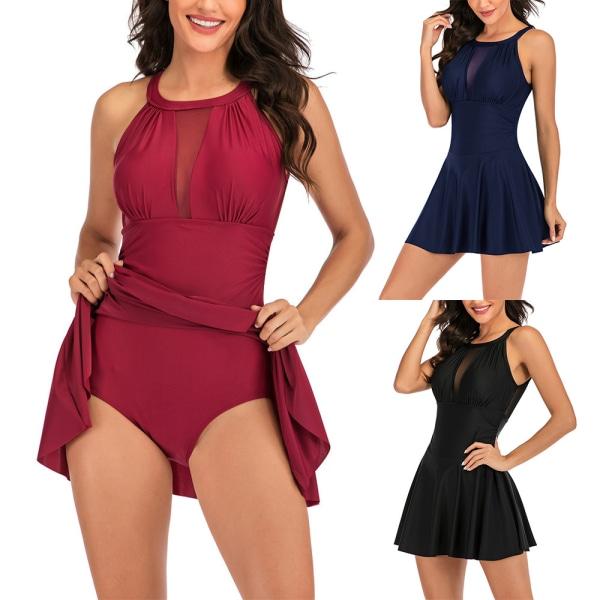 Women One Piece Swimdress Beachwear Swimwear Bathing Suit Bikini Black,L
