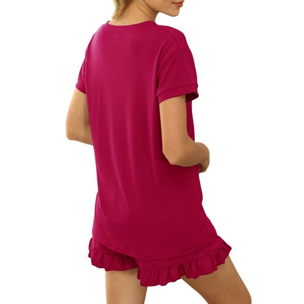 Women Pajamas Sets Casual Short Sleeve T-Shirts Ruffles Homewear Red,XL