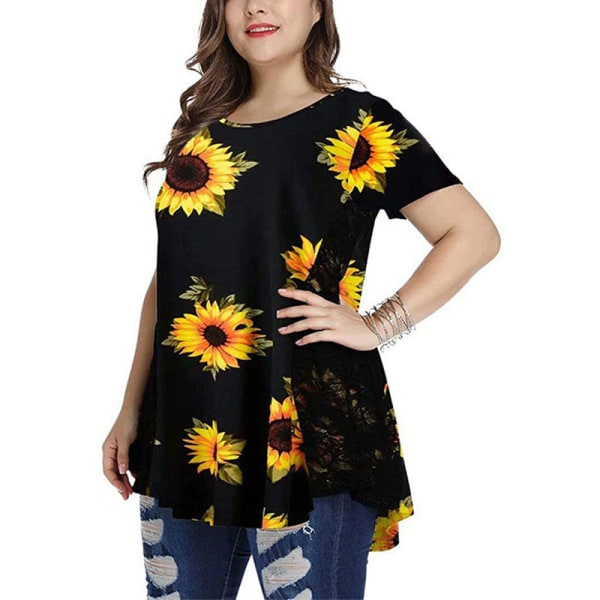 Women Plus Size Round Neck Top Casual Short-Sleeved T-Shirt black,5XL