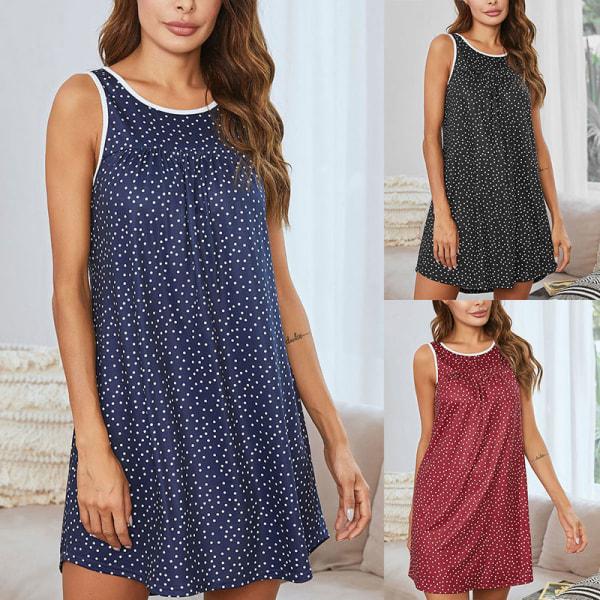 Women Polka Dots Nightdress Sleeveless Dress Nightwear Pajamas Black,L