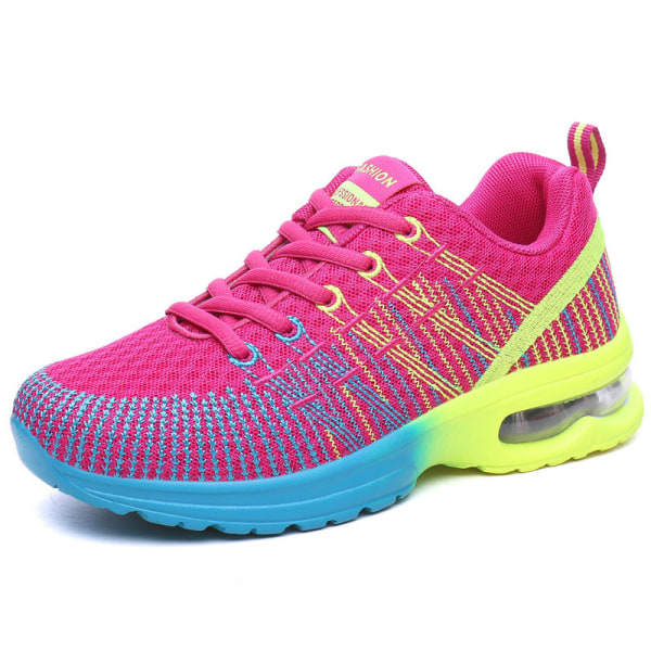 Women's Air Cushion Mesh Sneakers Running Breathable Sport Shoes Rose Red,38