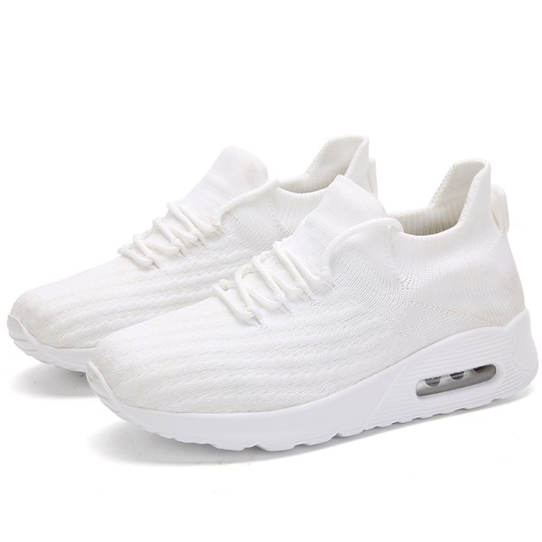 Women's Air Cushion Sneakers Athletic Running Elastic Sock Shoes White,40
