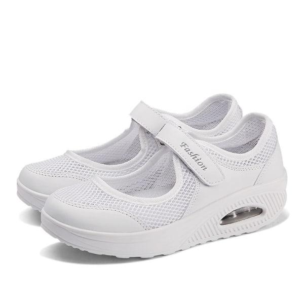 Women's Air Cushion Sneakers Summer Mesh Cloth Sandals White White,39
