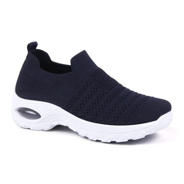 Women's air cushion sports shoes summer breathable shoes Dark Blue,38
