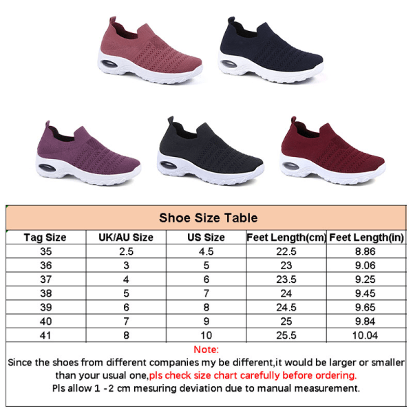 Women's air cushion sports shoes summer breathable shoes Wine Red,37