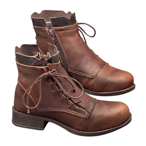 Women's Ankle Boots Chunky Heels Lace Up Zipper Round Toe Shoes Brown,35