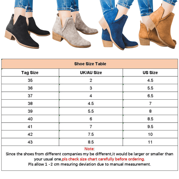 Women's Ankle Boots Thick Heel Fall Winter Warmer Casual Shoes Khaki,39