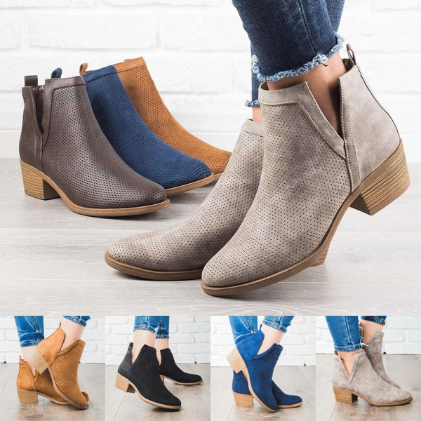 Women's Ankle Boots Thick Heel Fall Winter Warmer Casual Shoes Khaki,41