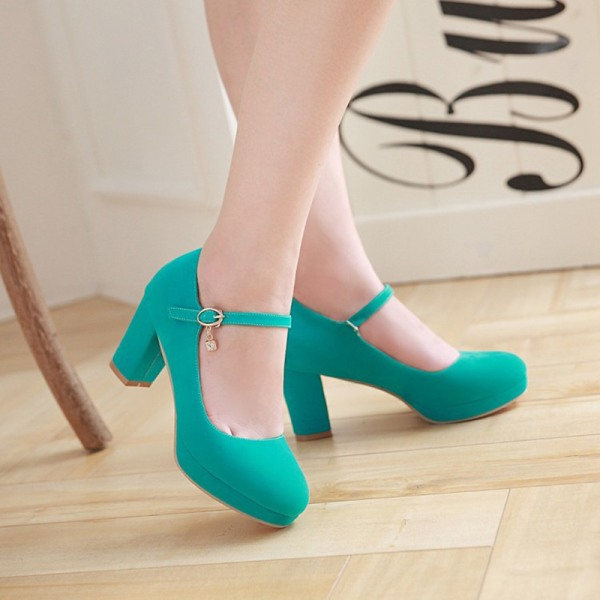 Women's Ankle Strap Fashion Casual Solid Color Shoes Pointed Toe Green,39
