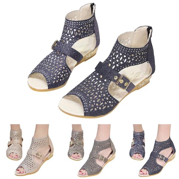 Women's Beautiful Sandals High Heels Breathable Zipper Black,40