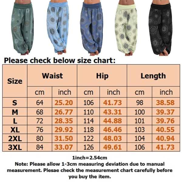 Women's Boho Floral Wide Leg Harem Pants Yoga Dance Loose green,XL