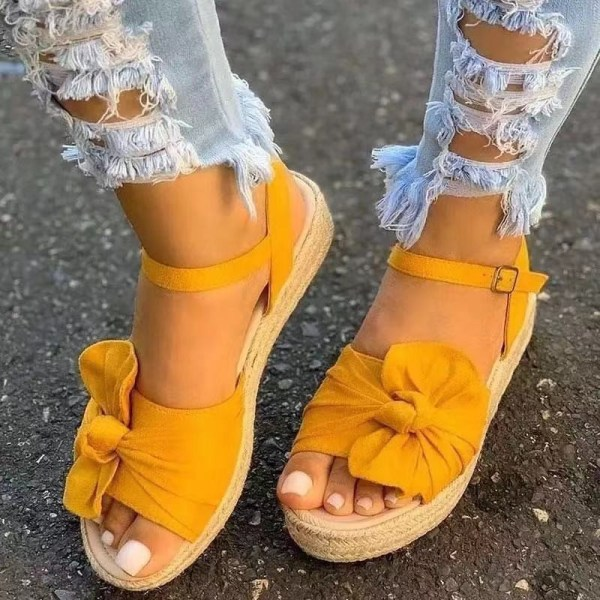 Women's Bowknot Fish Mouth Sandals Fashion Summer Shoes Yellow,42