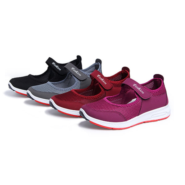 Women's Breathable Comfortable Soft-soled Mesh Cloth Shoes Red,35