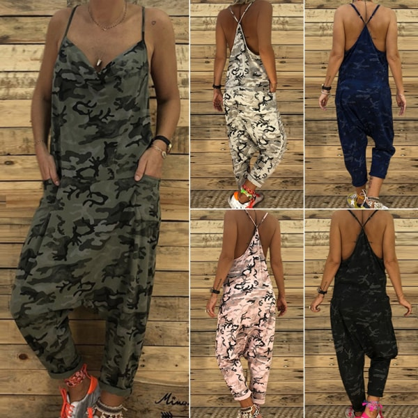 Women'S Camouflage Sleeveless Summer Loose Wide-Leg Jumpsuit Army Green,XXL