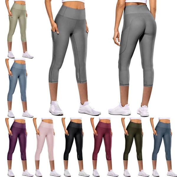 Women's Capri Yoga Pants High Waist Cropped Leggings Running gray,M