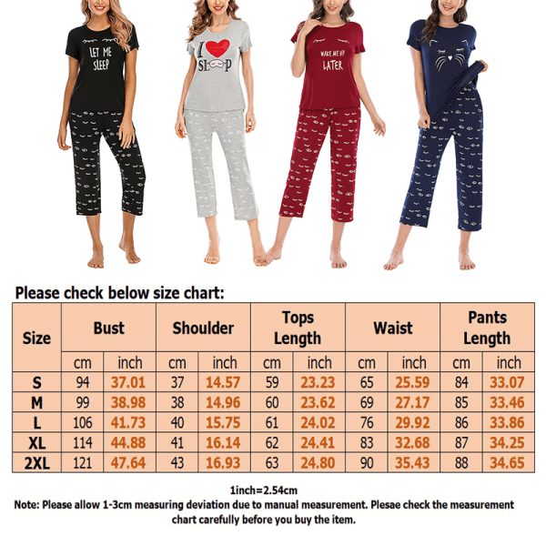 Women's Cartoon Pajamas Set T-Shirts Cropped Pants Homewear Suit Black,L