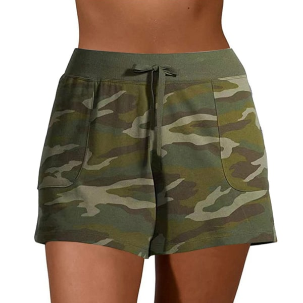 Women'S Casual Camouflage Printed Shorts Bottoms Sports Army Green,2XL