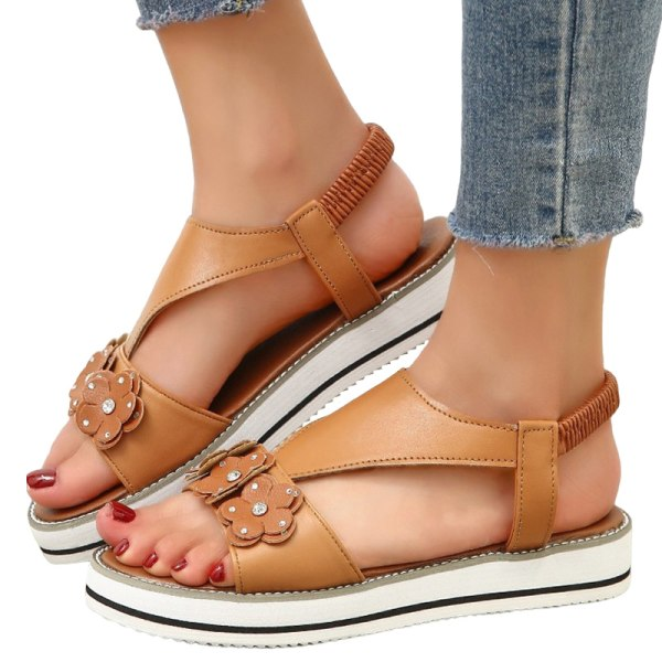 Women's casual flat rubber band sandals summer breathable Brown,40