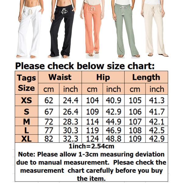 Women's casual high waist wide leg pants sports yoga pants White,M