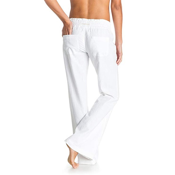 Women's casual high waist wide leg pants sports yoga pants White,XS