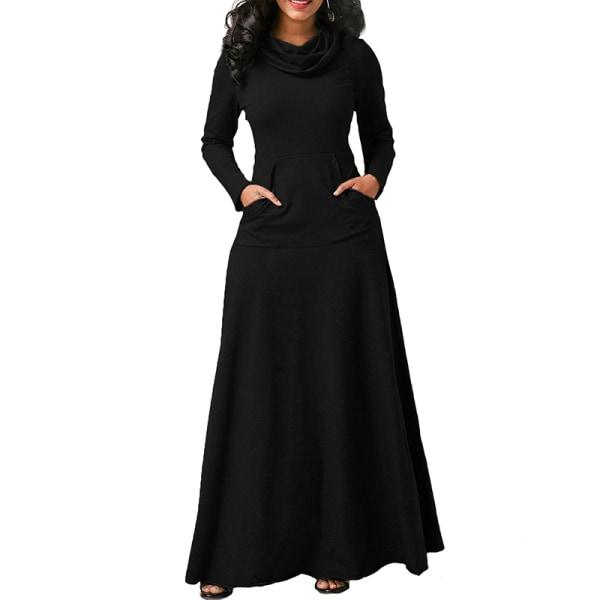 Women's Casual Long Sleeve Long Skirt Evening Dress black,3XL