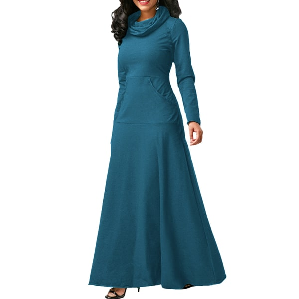 Women's Casual Long Sleeve Long Skirt Evening Dress blue lake,M