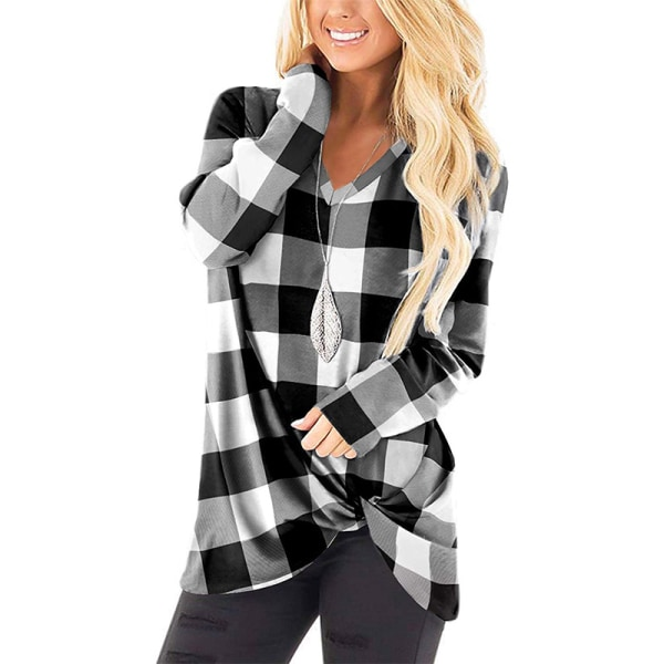 Women's Casual Long Sleeve Loose V-neck Top Shirt Black gray grid,M