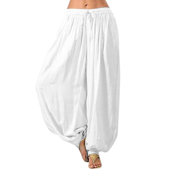 Women's Casual Loose Pants Solid Color Wide Leg Yoga Pants white,3XL