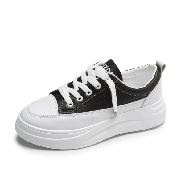 Women's casual shoes platform sneakers round toe single shoes Black,39