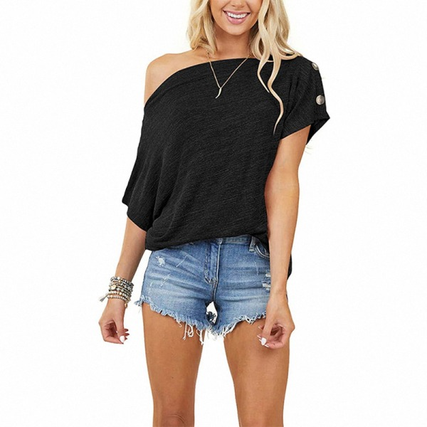 Women's casual short-sleeved top T-shirt loose one shoulder Black,XL