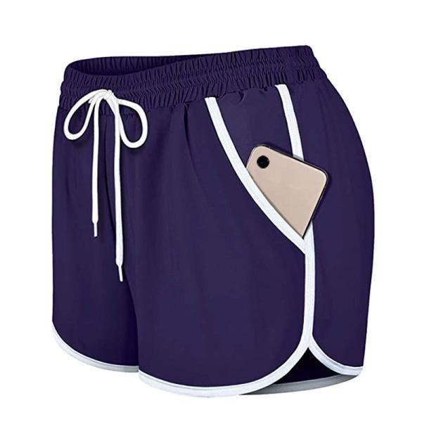 Women's casual yoga shorts fitness running tennis pants Purple,L