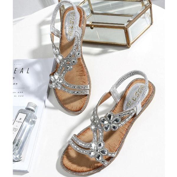Women's Crystal Shoes Fashion Flat Sandals Rhinestone Slip-in Silver,39