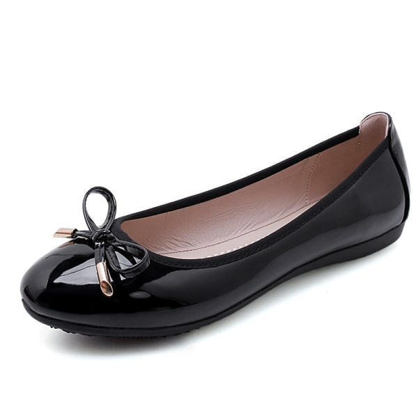 Women's dress party shoes round toe leather shoes Black (Patent Leather),37