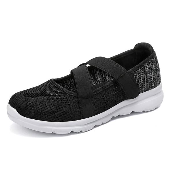Women's elastic band casual shoes outdoor walking walking shoes Black,37