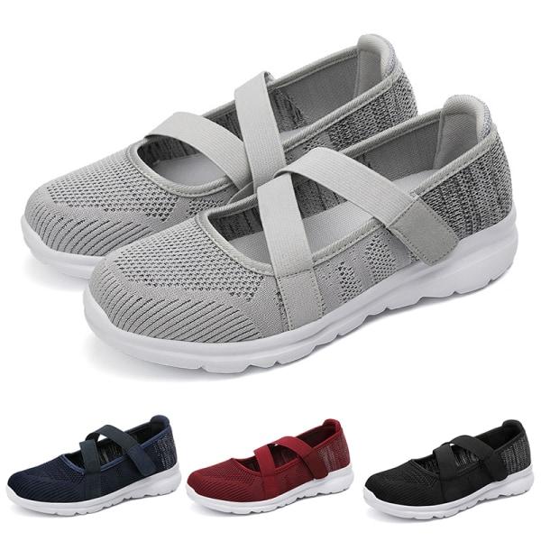 Women's elastic band casual shoes outdoor walking walking shoes Gray ,37