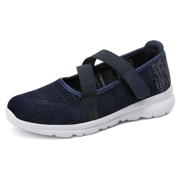 Women's elastic band casual shoes outdoor walking walking shoes Navy Blue,35