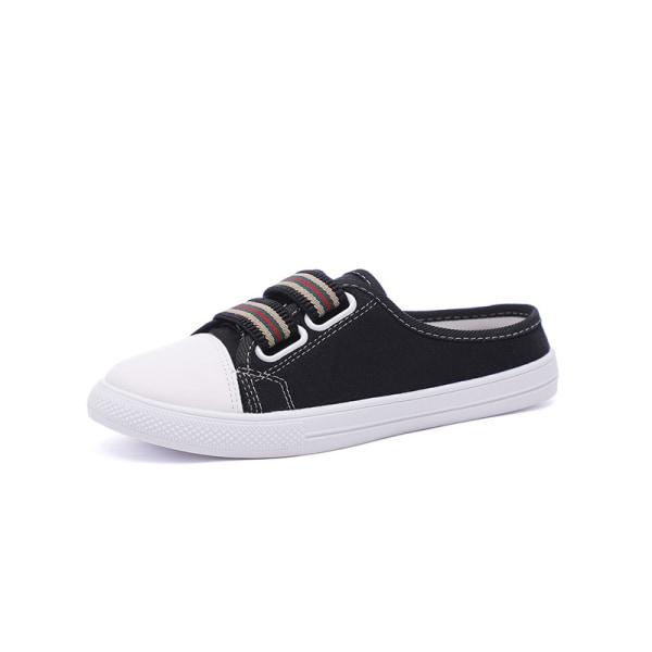 Women's Elastic Band Round Head Flat Heeled Canvas Shoes Black,38