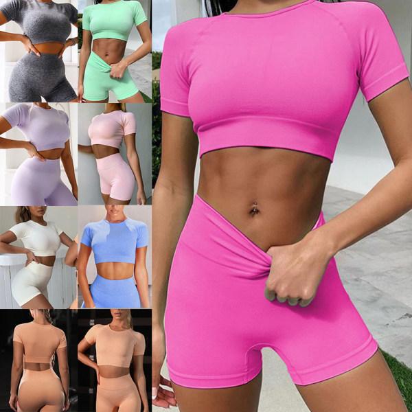 Women'S Fashion High Waist Sling Two-Piece Workout Yoga Suit Lilac Colour,S