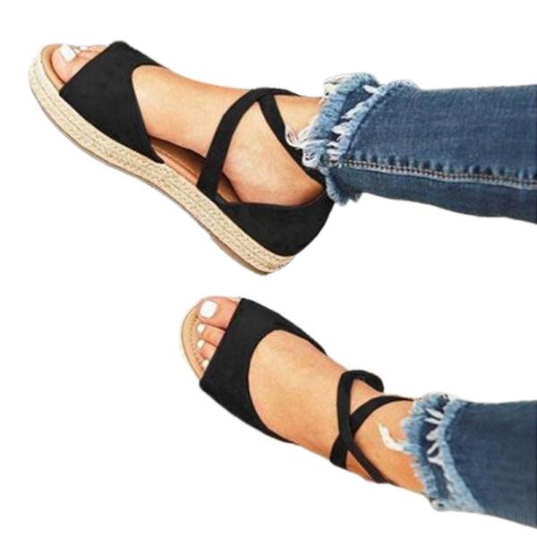 Women's Fish Mouth Cross Strap Sandals Platform Open Toe Shoes Black,40
