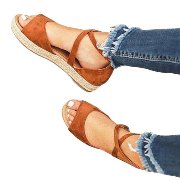 Women's Fish Mouth Cross Strap Sandals Platform Open Toe Shoes Brown,41