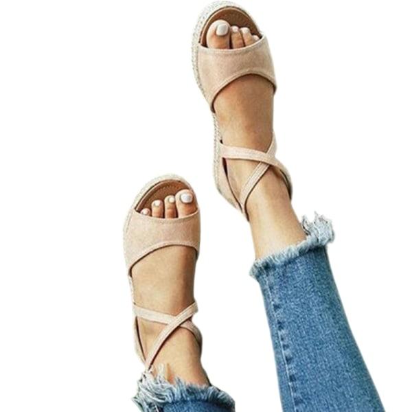 Women's Fish Mouth Cross Strap Sandals Platform Open Toe Shoes Khaki ,38