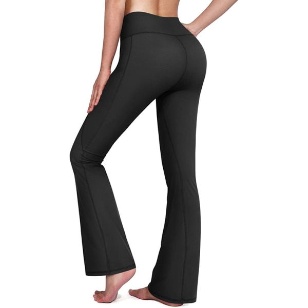 Women's flared yoga pants Women's wide-leg leggings trousers Black,XL