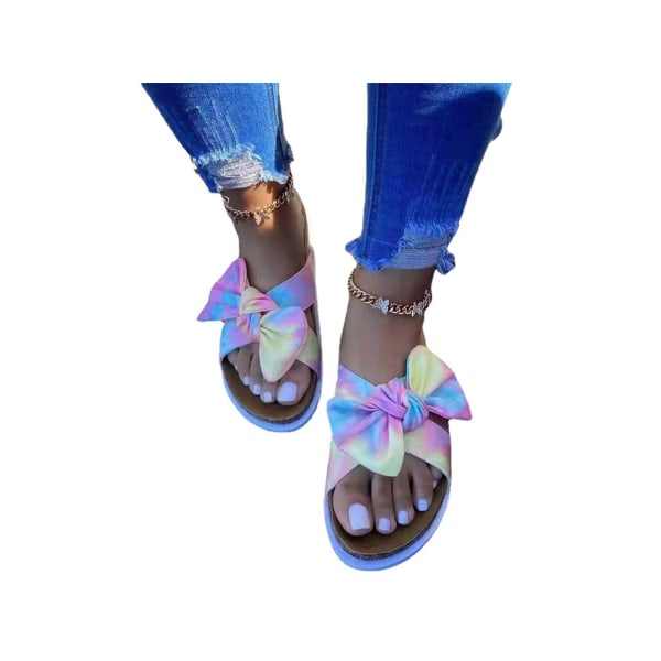 Women's Flat Shoes Beach Slippers Breathable Lightweight Sandals Rainbow colors,38