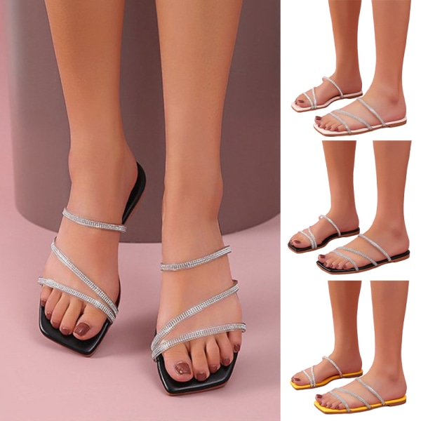 Women's Flat Slippers Rhinestone Quick-drying Breathable Sandals black,38