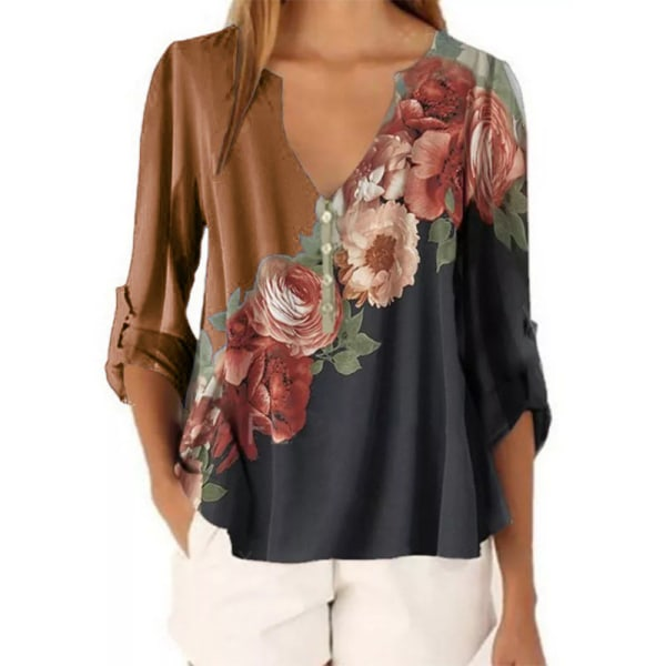 Women's Floral Long Sleeve Top Casual Loose Chiffon T-shirt Coffee,M
