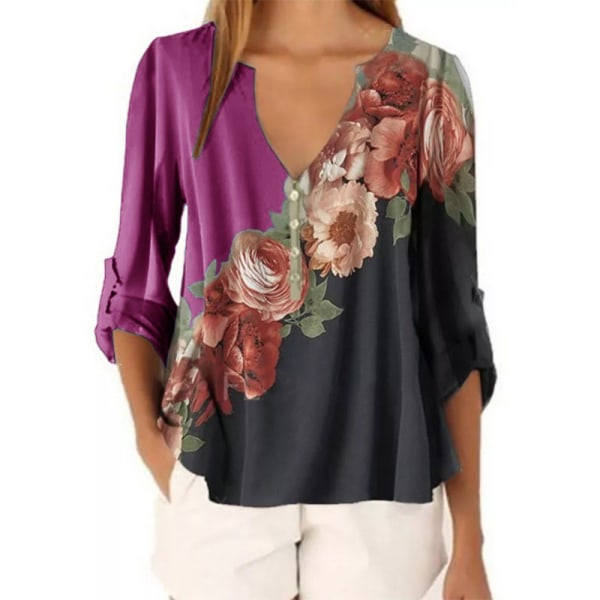 Women's Floral Long Sleeve Top Casual Loose Chiffon T-shirt rose Red,XL