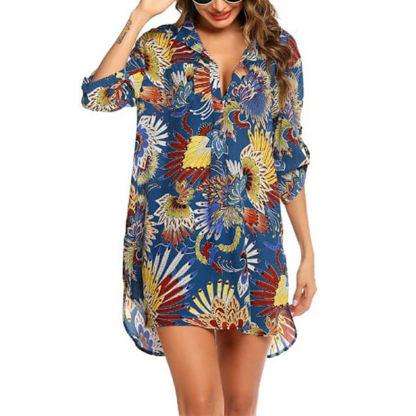 Women's Floral Print Chiffon Beach Loose Shirt Top Royal blue,XXL